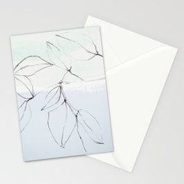leaves on pastel blue & mint Stationery Cards