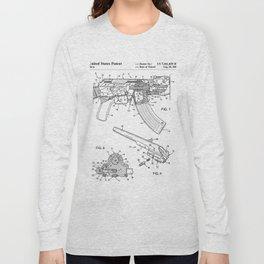 Ak-47 Rifle Patent - Ak-47 Firing Mechanism Art - Black And White Long Sleeve T-shirt