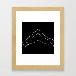 Tallest Mountains in the World / Mt Everest K2 Kanchenjunga / B&W Minimalist Line Drawing Art Print Framed Art Print