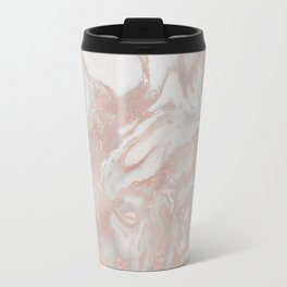 French polished rose gold marble Travel Mug