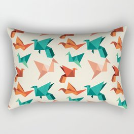 teal paper cranes Rectangular Pillow