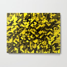 geometric square pixel pattern abstract background in yellow and black Metal Print