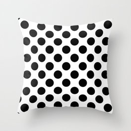 Polka Dots, Spots (Dotted Pattern) - White Black Throw Pillow