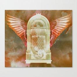 Rose Gold Retro Flying Jukebox Canvas Print