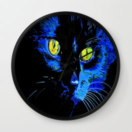Marley The Cat Portrait With Striking Yellow Eyes Wall Clock