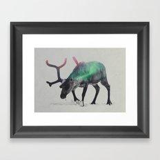 Reindeer In The Aurora Borealis Framed Art Print