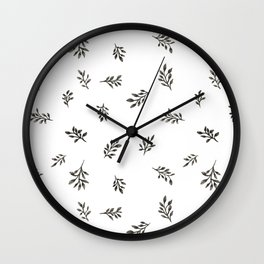Blank ink scattered leaves pattern Wall Clock