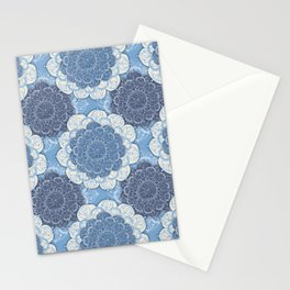 Lacy Blue & Navy Mandala Pattern  Stationery Cards
