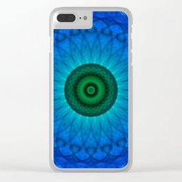 Blue mandala with green middle Clear iPhone Case