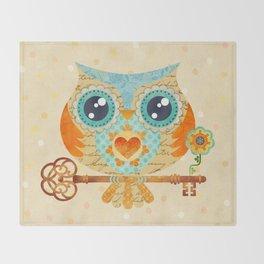 Owl's Summer Love Letters Throw Blanket