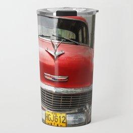 Vintage Red American Car on the Streets of Havana. Travel Mug