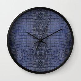Cobalt Alligator Print Wall Clock