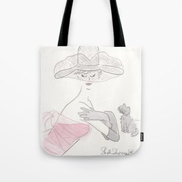 Fashion Vintage Glam Lady with Black Cat and Hat Tote Bag