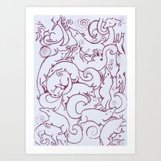 Fox Pattern Screen Print Art Print