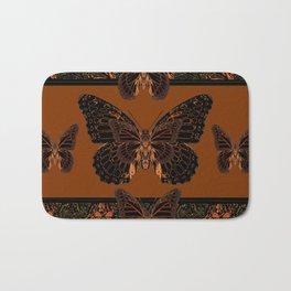 BLACK  MONARCH BUTTERFLIES,COFFEE BROWN-BURGUNDY ART Bath Mat
