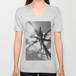 Tropical Palm Trees Black and White Unisex V-Neck