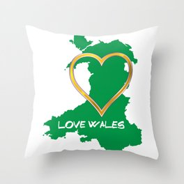 Love Wales Map Silhouette Heart Throw Pillow