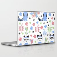 racoon Laptop & iPad Skins featuring Racoon pattern  by luizavictoryaPatterns