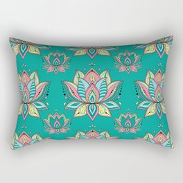 Lotus Mandala Doodle Green Pattern Rectangular Pillow