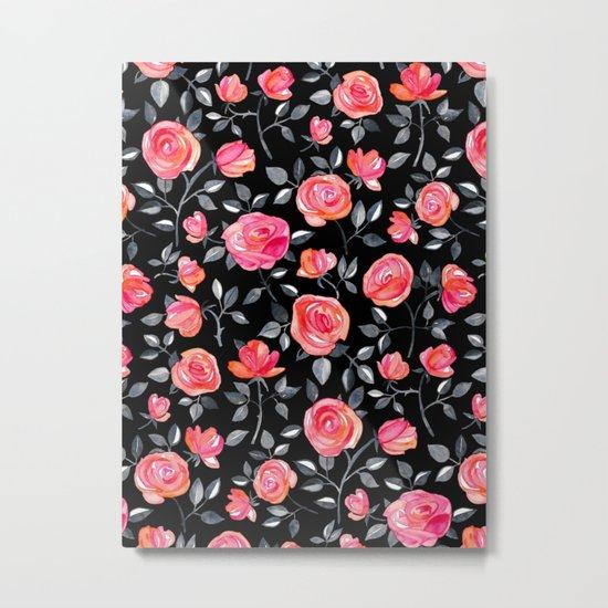 Roses on Black - a watercolor floral pattern Metal Print