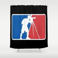 league Shower Curtains featuring Landscape League by Preston Lee Design