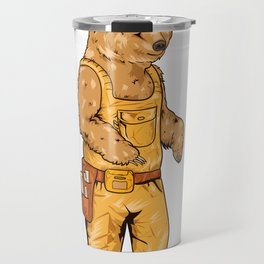 Construction Worker Grizzly Bear Travel Mug