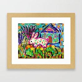 Rabbit and House Framed Art Print