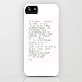 The Guest House #poem #inspirational iPhone Case