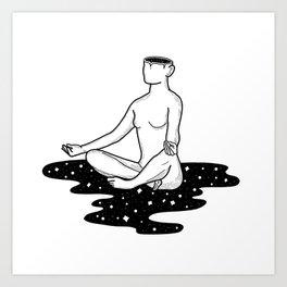 Space Girl Does Yoga Art Print