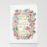 fierce Stationery Cards featuring Little & Fierce by Cat Coquillette