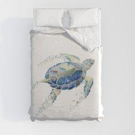 Lone Sea Turtle Watercolor  Duvet Cover