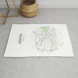 Krakow Poland City Map with GPS Coordinates Rug