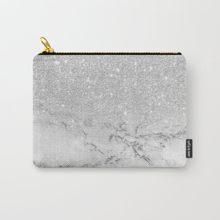 Modern faux grey silver glitter ombre white marble Carry-All Pouch