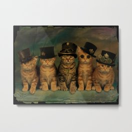 Steampunk Kittens Metal Print