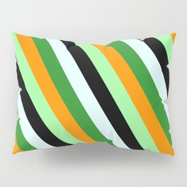 Colorful Dark Orange, Green, Black, Light Cyan, and Forest Green Colored Lined Pattern Pillow Sham