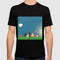 What's going on the farm? Kids collection Black Mens Fitted Tee MEDIUM