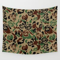 camouflage Wall Tapestries featuring Pug Camouflage by Huebucket