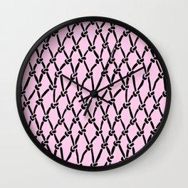 Fishing Net Black on Blush Wall Clock