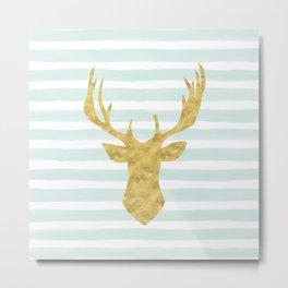 Gold Deer on Mint Watercolor Stripes Metal Print