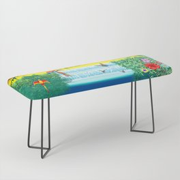 Waterfall Macaws and Butterflies on Exotic Landscape in the Jungle Naif Style Bench