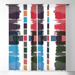 Bold brushstrokes with mosaic stripes Blackout Curtain