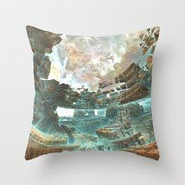Aqua Space Shipyard Throw Pillow