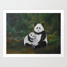 Panda Momma and Baby Art Print