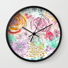 Pastel Roses Wall Clock
