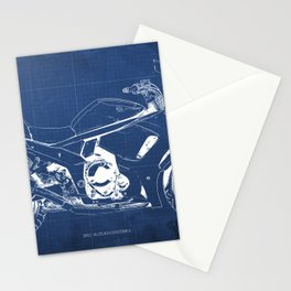 Suzuki blueprint, motorcycle drawing, whit and blue, vintage poster Stationery Cards