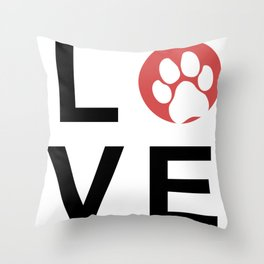 "Animal Recue - LOVE with Paw Print ""O"" Throw Pillow"