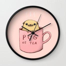 Pug of Tea Wall Clock