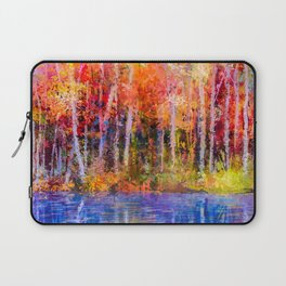 Rainbow Forest Of Colorful Trees, Vivid Abstract Nature Painting, Reflection Of Fall Leaves In Autumn Laptop Sleeve