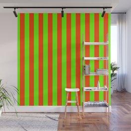 Super Bright Neon Orange and Green Vertical Beach Hut Stripes Wall Mural