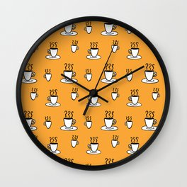 Coffe mug pattern in mustard yellow Wall Clock